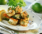 Barbecued scallops with parsley