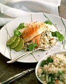 Chicken breast with lime on rice