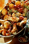 Chicken fricassee with young onions