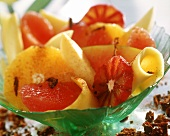 Exotic fruit salad with Tequila and paprika