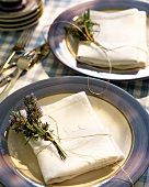 Small bunch of lavender as napkin decoration