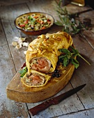 Stuffed shoulder of lamb in pastry crust