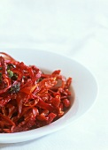 Sun-dried red and green chili peppers