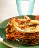 Piece of lasagne bolognese (lasagne with meat sauce)