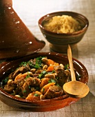 Lamb tajine with apricots and almonds (N. Africa)