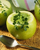 Chilled green apple soup with chervil