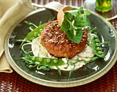 Rissole on pea sprouts and mayonnaise