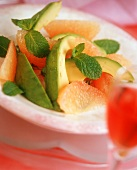 Avocado salad with grapefruit segments and mint