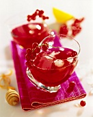 Redcurrant juice with ice cubes