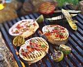 Marinated, grilled swordfish steaks