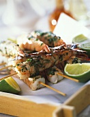 Shrimp kebabs with herbs for grilling