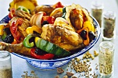 Poulet basquaise (braised chicken with peppers, Basque region)