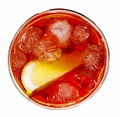Campari with lemon and ice cubes
