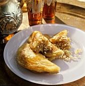 Kataif (süsse Hefepfannkuchen aus dem Mittleren Osten)