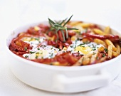 Pepper and potato bake with fried egg
