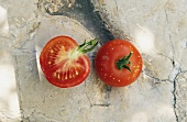 Whole and half tomato, Rose de Berne variety