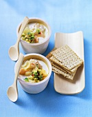 Two dishes of fish soup