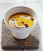 Creamed pumpkin soup with pumpkin seed oil