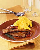 Duck fillet with Marsala sauce and mashed potato with saffron