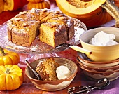Almond and pumpkin cake with lemon, a piece cut