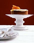 Orange cake on a cake stand