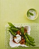 Bean stew and herb crème fraiche
