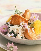Salmon risotto with primroses