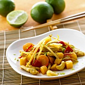 Chicken curry with vegetables, bamboo shoots and cashew nuts