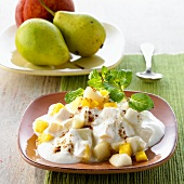 Peach and pear raita with cinnamon