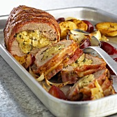 Stuffed pork fillet with baked plums