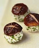 Three sushi with shiitake mushroom
