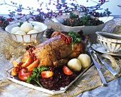 Christmas goose with potato dumpling and red cabbage