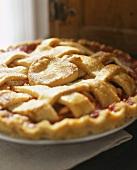 Cherry pie with pastry lattice