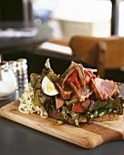 Seared tuna and anchovies in a sandwich