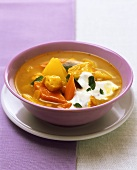 Curried potato soup with chicken
