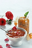 Minted Cape gooseberry and peach and rose jam