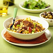 Risotto with spicy sausages and vegetables