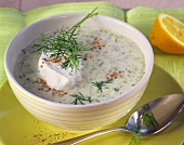 Cold cucumber soup with dill and sour cream