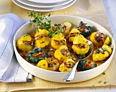 Patty pan squashes stuffed with nuts and sheep's cheese