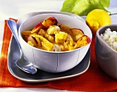 Fish and apple curry with pumpkin
