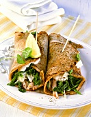 Wraps with turkey ham and spinach