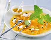 Orange carpaccio with yoghurt and pistachios