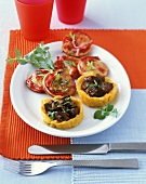 Polenta bowls with chicken liver and pizza rounds with ham