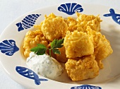 Fish nuggets with herb quark