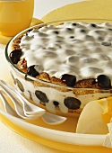 Layered dessert with grapes and quark cream