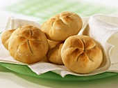 Bread rolls on white cloth