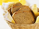 A few slices of mixed wheat and rye in bread basket