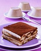 Tiramisu, coffee pudding behind (Caffe cotta)