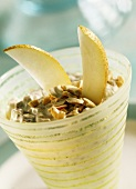 Soya muesli with pears and chopped nuts