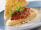 Kidney bean spread on flatbread